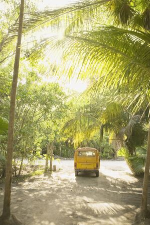 longshot: Van parked in the tropical setting