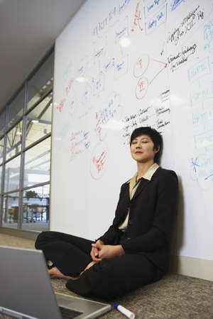 Asian businesswoman with laptop on floor in front of whiteboard wall Stock Photo - 16091240