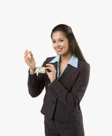 the sleeve: Businesswoman pulling money out of sleeve