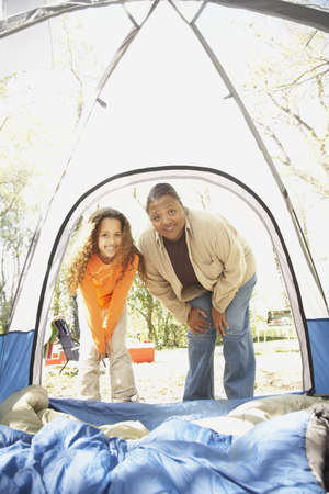 African American mother and daughter camping Stock Photo - 16091311