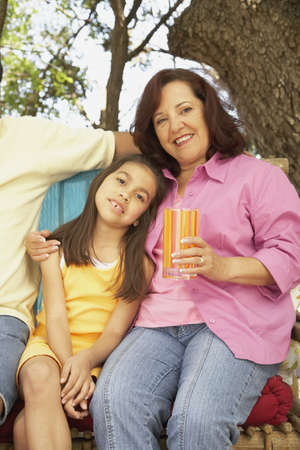 gramma: Hispanic mother and daughter outdoors