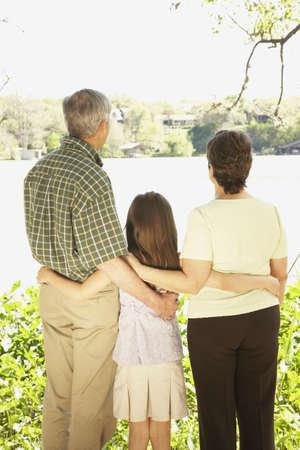 Rear view of Hispanic family outdoors Stock Photo - 16091368