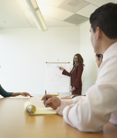Businesswoman pointing to graph at meeting Stock Photo - 16091541