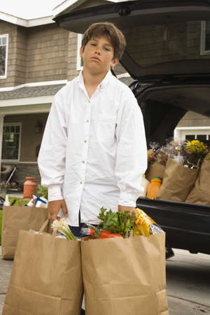 Boy carrying paper grocery bags Stock Photo - 16091774
