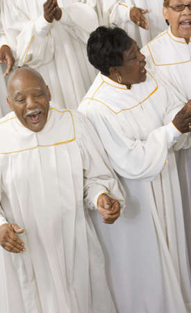 Senior African people singing in a choir