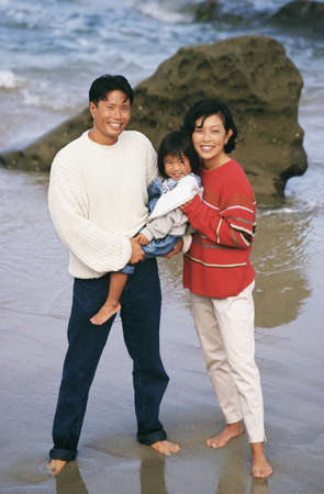Asian parents and young daughter at beach Stock Photo - 16091939