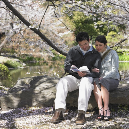 guidebook: Asian couple looking at guide book in park