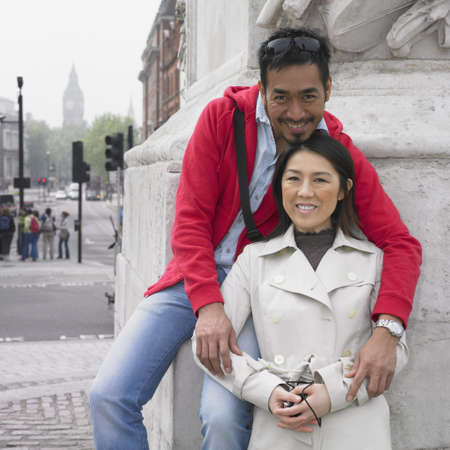 Asian couple hugging and smiling in London Stock Photo - 16092123
