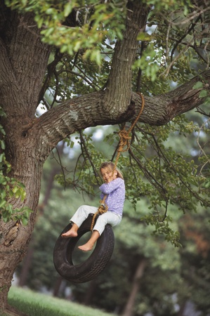 tire: Young girl sitting on tire swing