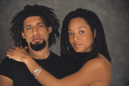 dreads: Portrait of African couple hugging