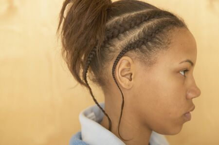 cornrows: Profile of African girl with cornrows LANG_EVOIMAGES
