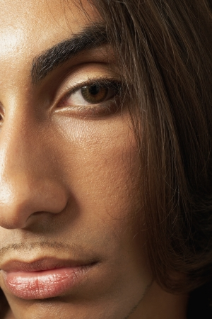 Extreme close up of Middle Eastern man's face Stock Photo - 16092531