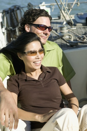 Portrait of couple on sailboat Stock Photo - 16092761