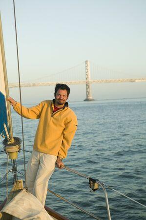 Portrait of man on sailboat