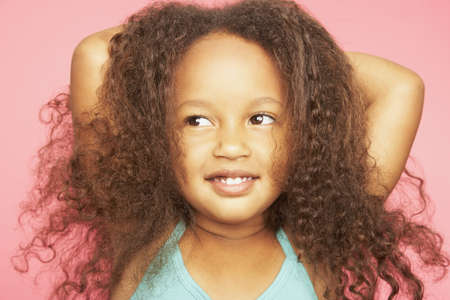 afro curly hair: Close up of African girl smiling