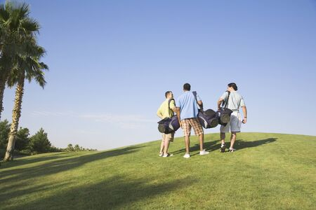 group of plants: Three men walking on golf course LANG_EVOIMAGES
