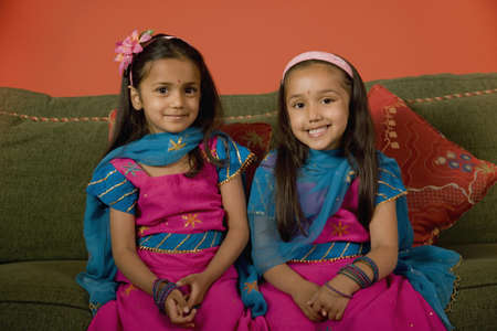 davenport: Portrait of Indian sisters in traditional dress
