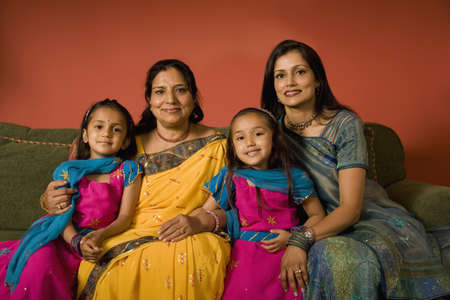 traditional custom: Multi-generational Indian family in traditional dress
