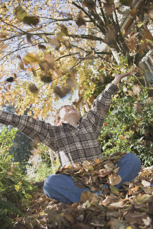 lighthearted: Boy playing in pile of leaves LANG_EVOIMAGES