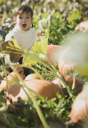 Asian girl sitting in pumpkin patch