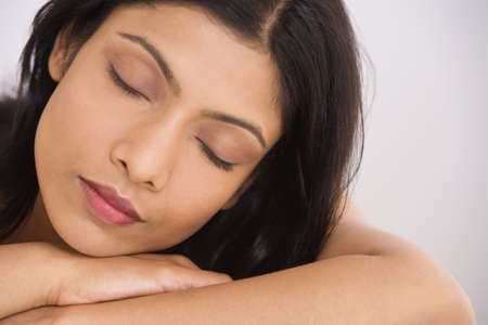 wearying: Close up of Indian woman sleeping