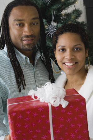 christmas gift: African couple holding gift in front of Christmas tree LANG_EVOIMAGES