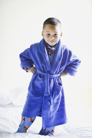 Portrait of African boy wearing pajamas