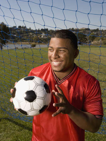 Portrait of African male soccer player Stock Photo - 16094426