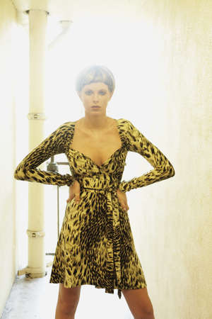 Portrait of woman wearing animal print dress Stock Photo - 16094513