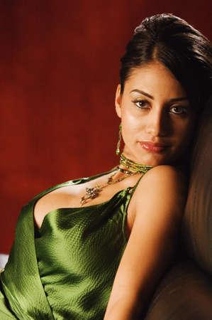Portrait of Hispanic woman wearing sexy top Stock Photo - 16094597