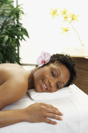 African woman laying on spa table Stock Photo - 16094790