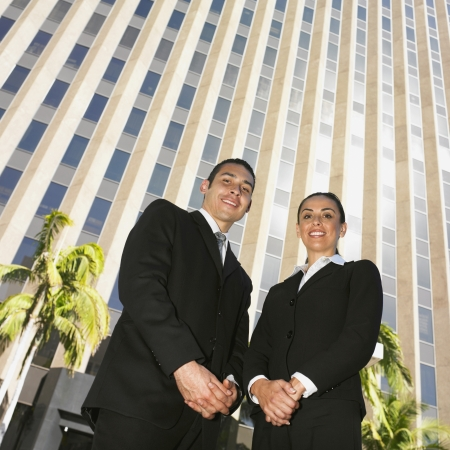 Low angle view of Hispanic businesspeople Stock Photo - 16094901