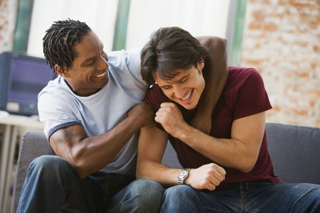 Multi-ethnic men hugging on sofa Stock Photo - 16094958