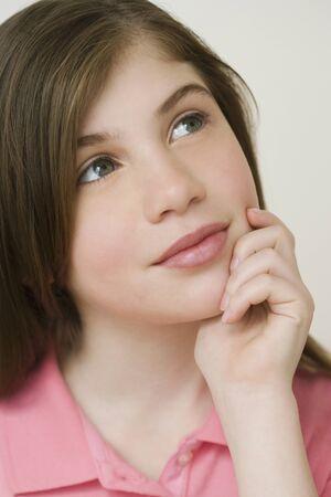 irish ethnicity: Close up of Irish girl thinking
