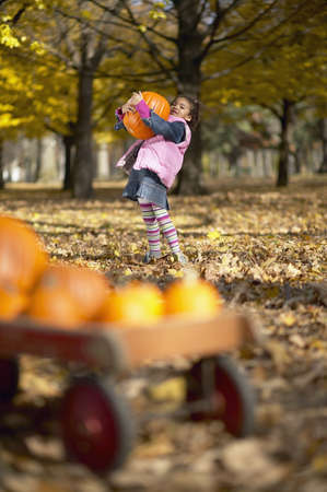 African girl carrying pumpkin Stock Photo - 16095001