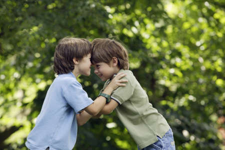 horseplay: Two brothers playing outdoors LANG_EVOIMAGES