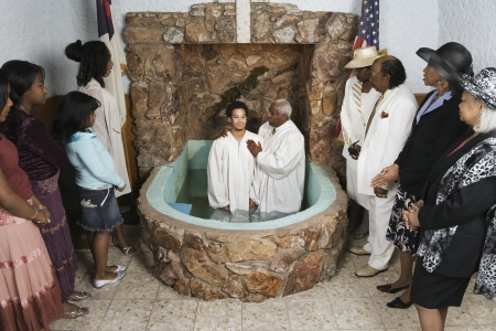 Adult baptism in church Stock Photo - 16095110