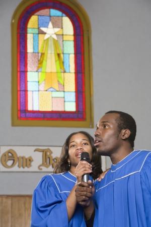 African American choir singing in church