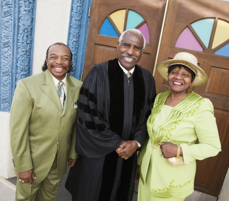 Portrait of senior African American couple and Reverend Stock Photo - 16095116