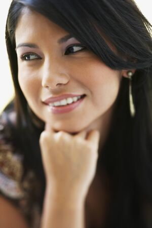 Close up of South American woman smiling