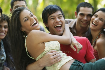 South American friends laughing Stock Photo - 16095172