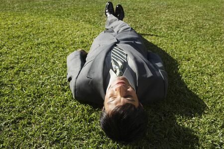 wearying: South American businessman laying in grass