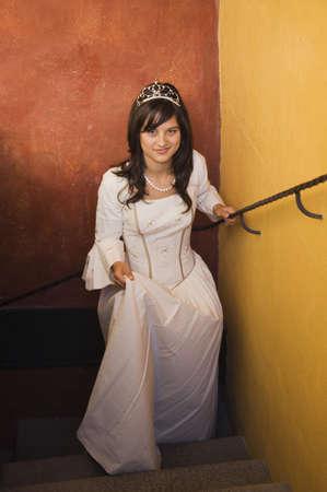 Hispanic girl in Quinceanera dress Stock Photo - 16095360
