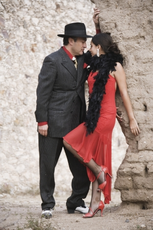 Hispanic couple in tango outfits Stock Photo - 16095393