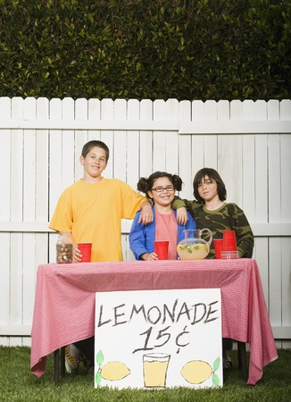 Mixed Race children selling lemonade Stock Photo - 16095497