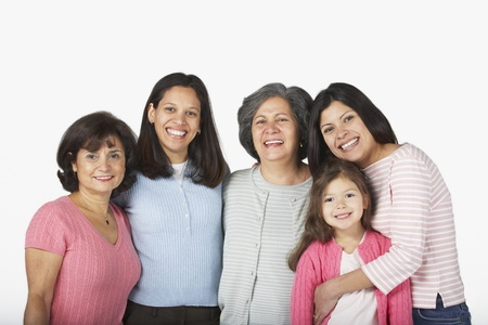 age 5: Portrait of multi-generational Hispanic female family members