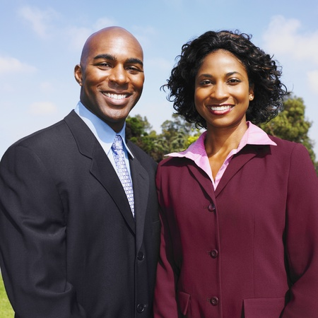 African businessman and businesswoman outdoors Stock Photo - 16096031