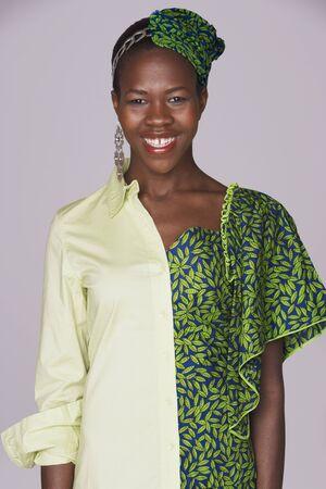 Ugandan woman wearing traditional dress and modern attire Stock Photo - 16096129