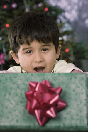 Hispanic boy holding Christmas gift Stock Photo - 16096242