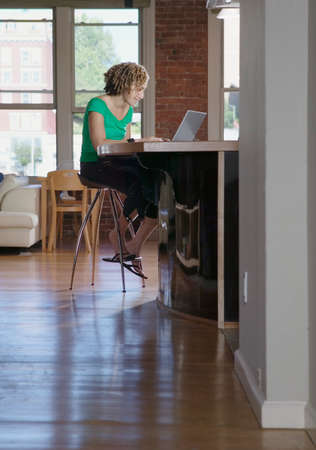 invariable: Woman working on a laptop at a kitchen counter top